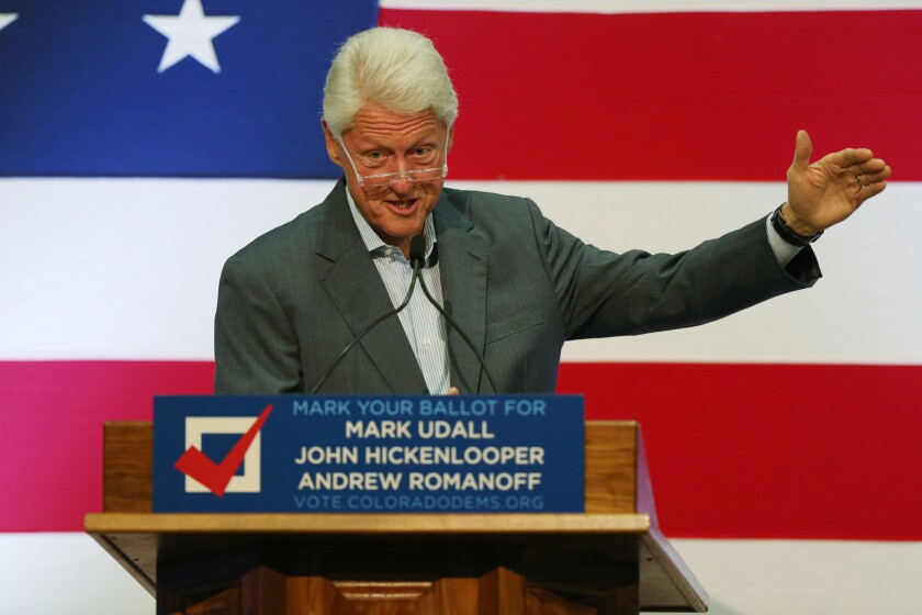 Former President Bill Clinton at an event in Aurora, Colo., to promote that state's Democratic candidates in the upcoming general election.