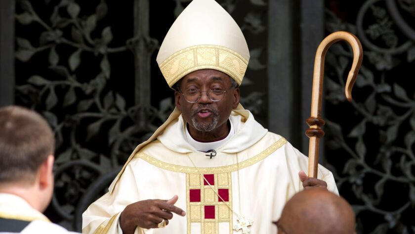 Episcopal Church Presiding Bishop Michael Curry, pictured in 2015, issued an order this week banning Bishop J. Jon Bruno from closing a planned sale of St. James the Great Episcopal Church in Newport Beach.