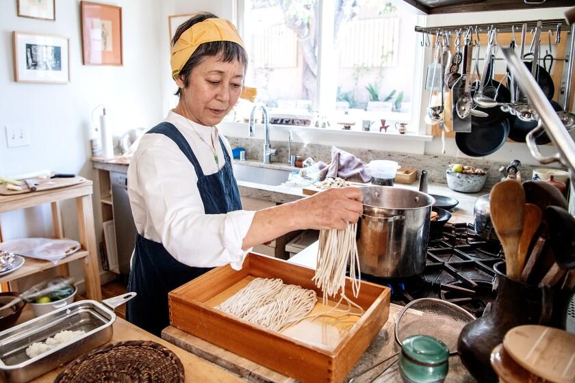 Sonoko Sakai cooks homemade soba noodles.