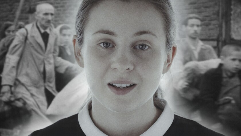 "Polish actress Aleksandra Bernatek performs a dramatic recitation of Holocaust victim Renia Spiegel's writings in the documentary ""Broken Dreams."""