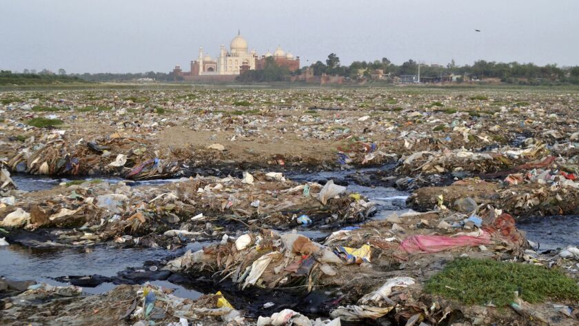 In this Friday, May 11, 2018 photo, garbage covers the area by the Yamuna river near the Taj Mahal i