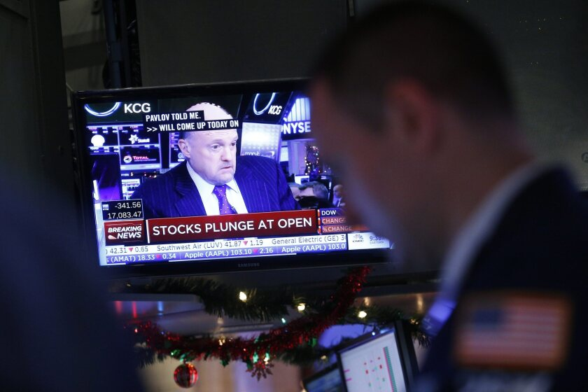 CNBC's Jim Cramer sure doesn't look happy as stock trading opened on Monday, as seen in this shot from the NYSE floor. He should probably be more patient.