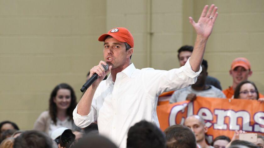 Former Texas Congressman Beto O'Rourke speaks to students at Clemson University in Clemson, S.C., Su