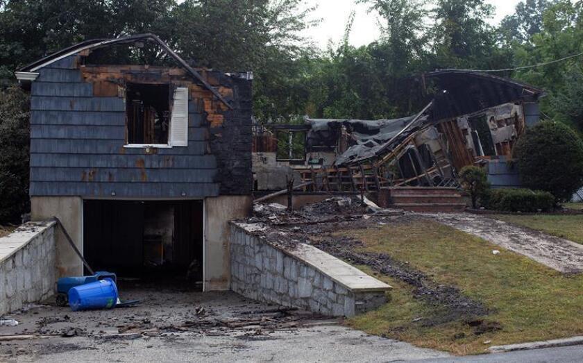 Vista de una casa destruida en una explosión de gas, en Lawrence, Massachusetts, EE.UU., el 14 de septiembre del 2018. EFE