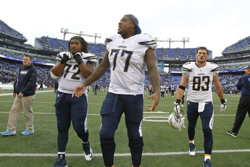 Chargers Joe Barksdale, King Dunlap, center, and John Phillips walk off the field after a 29-26 loss to the Ravens.