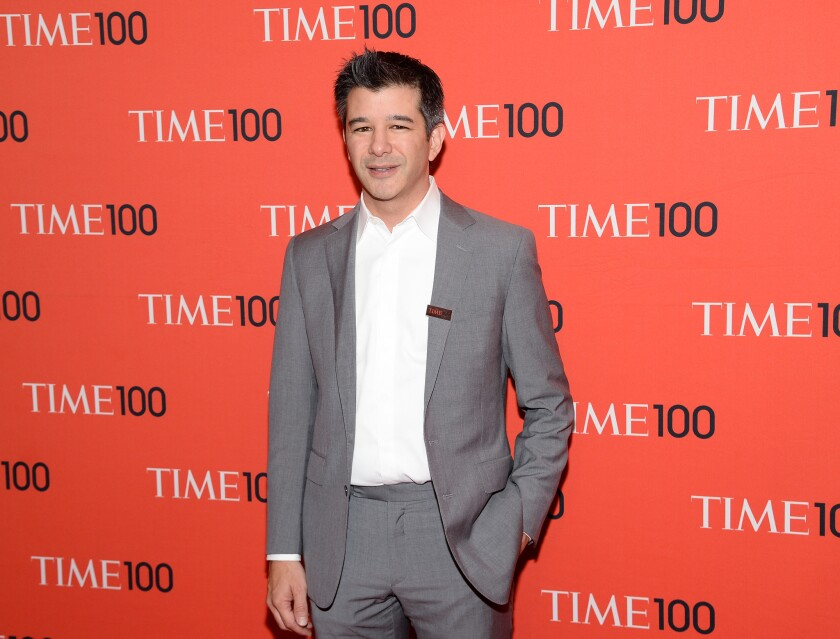 Uber Chief Executive Travis Kalanick, shown at 2014 Time 100 Gala in New York City, said the company will adopt self-driving cars whenever they're readily available.