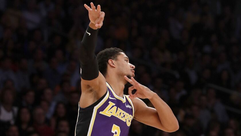 Lakers guard Josh Hart celebrates against the Timberwolves in the first quarter.