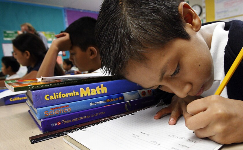 "L.A. Unified's scores have been rising slowly since the urban district assessment began a decade ago, but figures released this week showed a more significant jump. Among L.A.'s fourth-graders, for example, the percentage of math students scoring at the bottom level -- known as ""below basic"" -- fell from 37% to 31%."