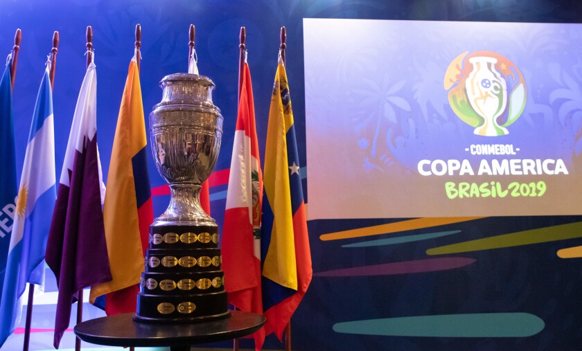 The Copa America Trophy is displayed during a meeting between representatives of the twelve nations who will take part in the 2019 Copa America football tournament and the competition's local organizing committee on January 22, 2019 in Rio de Janeiro, Brazil. The Copa America Tournament will be hosted in Brazil between June 14 and July 7.