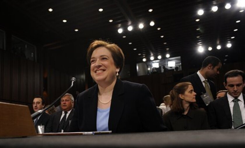 Supreme Court nominee Elena Kagan sits down for another round of questions as she testifies on Capitol Hill in Washington, Wednesday, June 30, 2010, before the Senate Judiciary Committee on her nomination. (AP Photo/Susan Walsh)