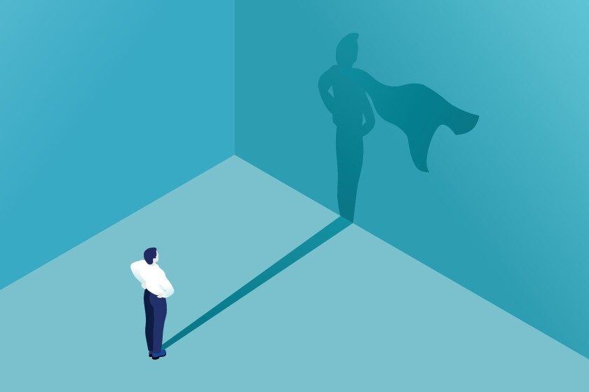 Superhero Shadow Icon Business Illustration