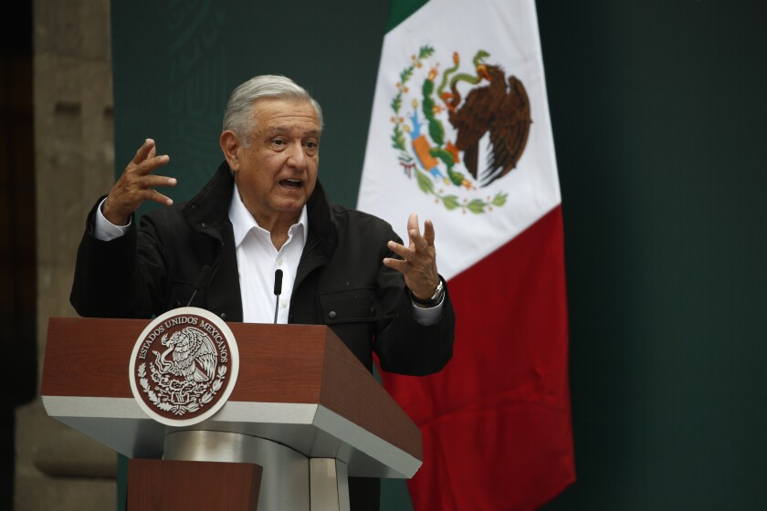 Mexico's President Andrés Manuel López Obrador at the National Palace in Mexico City on Sept. 26, 2020.
