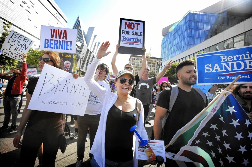 Sanders supporters march in L.A.