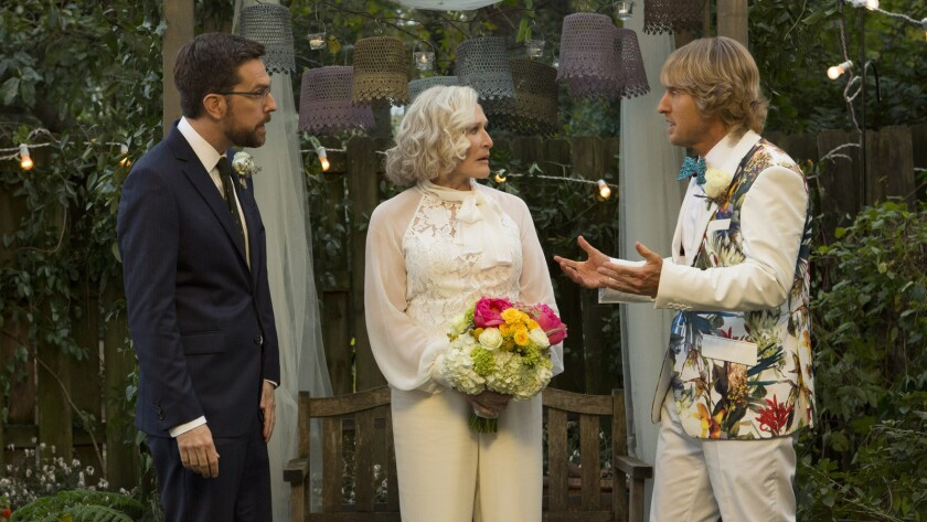 """Ed Helms, from left, Glenn Close and Owen Wilson in the movie """"Father Figures."""""""