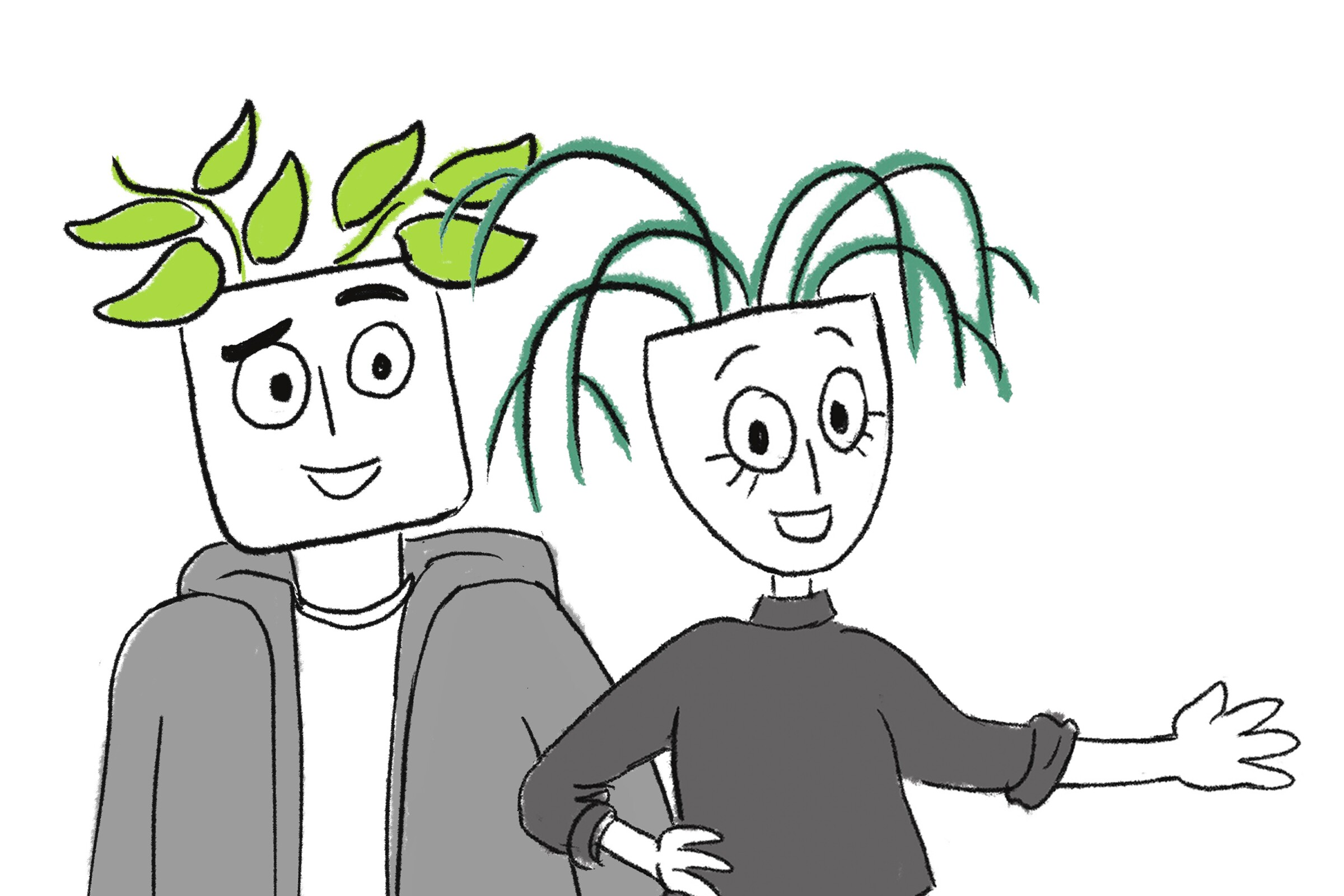 Pot Heads plant illustration