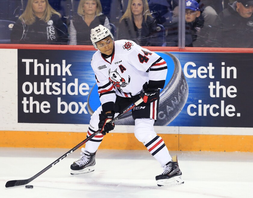 Niagara Ice Dogs forward Akil Thomas looks to pass during an OHL game against the Sudbury Wolves in St. Catharines, Canada, in October 2018.