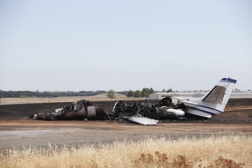The remains of a twin-engine Cessna Citation in Oroville, Calif., on Wednesday.
