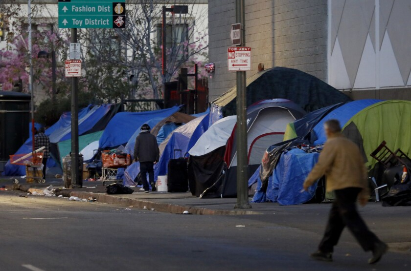 Tents line a street near in the skid row area of Los Angeles.