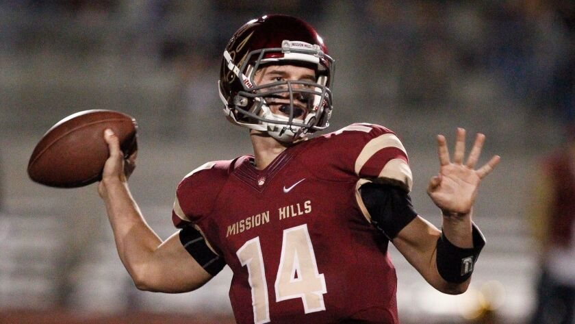 SAN MARCOS, CA, NOVEMBER 20, 2015 | Mission Hill's quarterback Jack Tuttle throws a pass during the