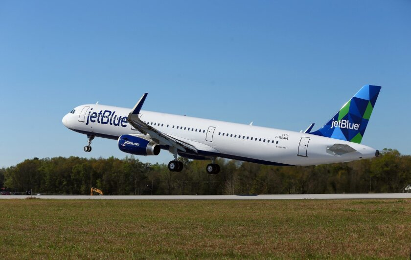 The first Airbus A-321 aircraft assembled in Mobile made its first test flight Monday, March 21, 2016, taking off from Brookley Field in downtown Mobile. Ala.(Sharon Steinmann/AL.com via AP)