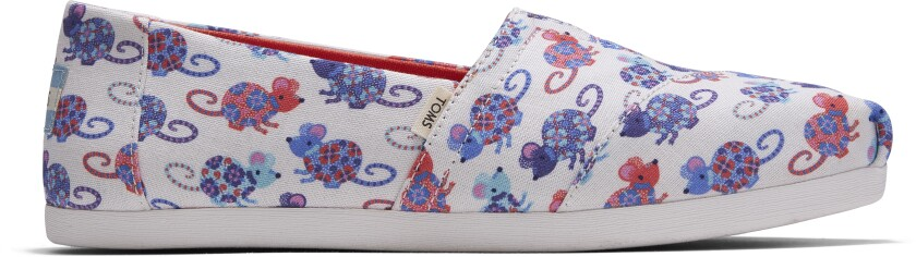 A white slip-on shoe with cartoon rat designs.