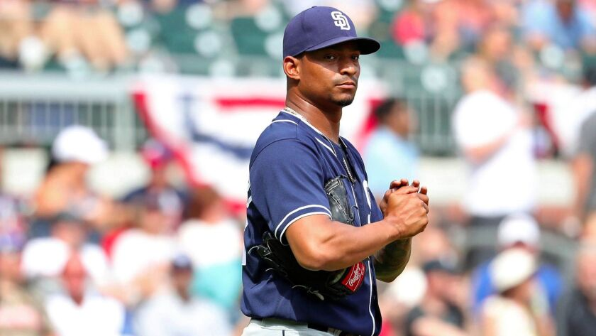 San Diego Padres relief pitcher Christian Bethancourt reacts after giving up a run in the eighth inning of a game against the Atlanta Braves at SunTrust Park.