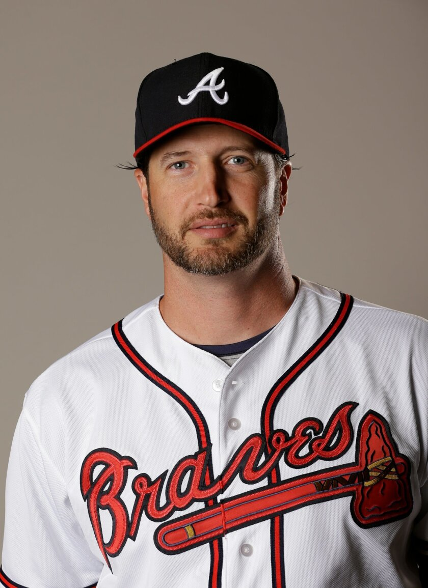 This Feb. 26, 2016 file photo shows Jason Grilli of the Atlanta Braves baseball team. The Toronto Blue Jays have added a veteran to their bullpen by acquiring Jason Grilli from the Atlanta Braves in exchange for a pitching prospect, Tuesday, May 31, 2016. (AP Photo/John Raoux, file)