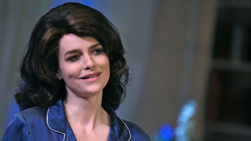 """Saffron Burrows plays Jacqueline Kennedy Onassis in """"Jackie Unveiled"""" at the Wallis Annenberg Center for the Performing Arts in Beverly Hills."""