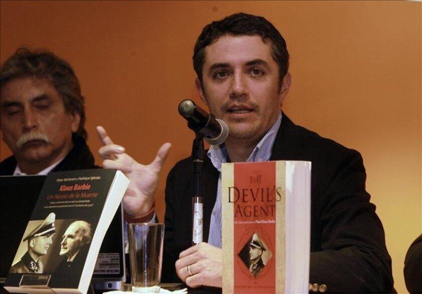 "Writer Fadrique Iglesias speaks during the presentation of ""Klaus Barbie. Un Novio de la Muerte"" (Klaus Barbie: Death's Groom) published in La Paz, Bolivia. EFE"