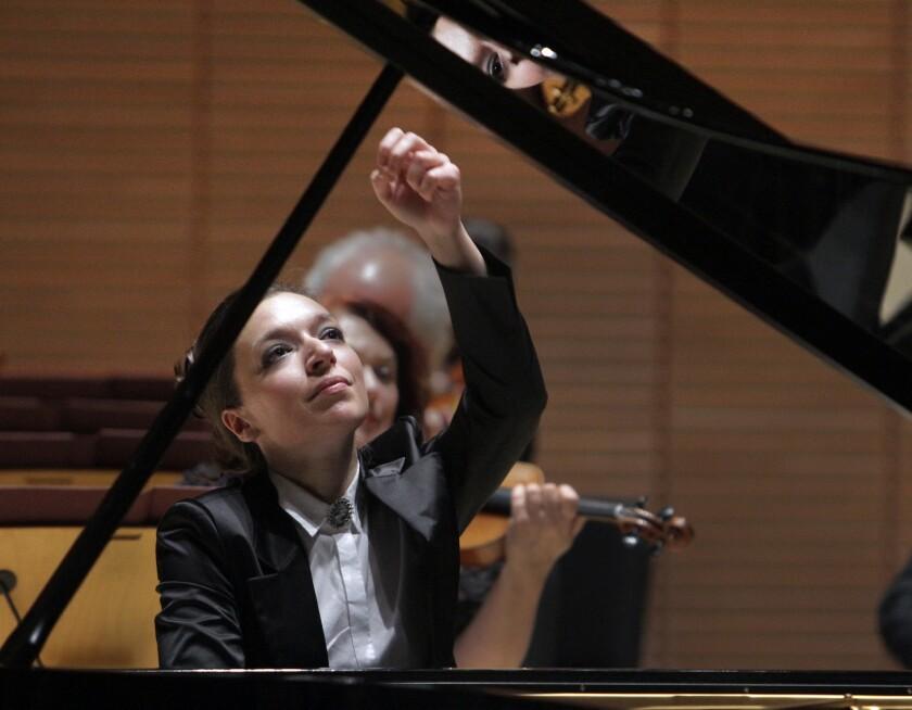 ALISO VIEJO, CA. NOV. 07, 2012: Yulianna Avdeeva, piano soloist in Chopin's Piano Concerto No. 2. wi