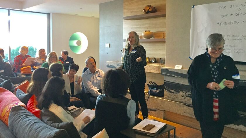 Dianne Gregg speaks to the Solidarity Sundays group in La Jolla during the group's inaugural meeting.