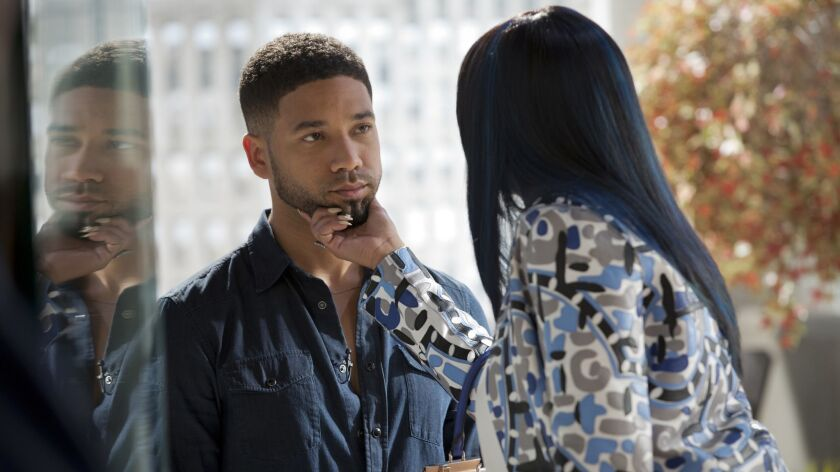 "Jussie Smollett, left, as Jamal Lyon and Taraji P. Henson as Cookie Lyon in a 2015 episode of ""Empire."""