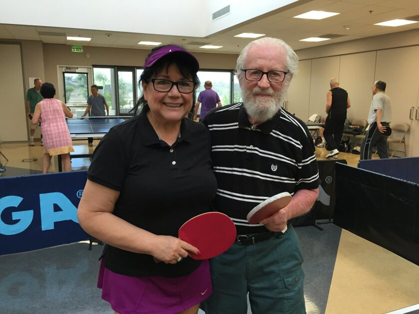 Patty Martinez and Si Wasserman at the El Corazon Senior Center in Oceanside on June 29.