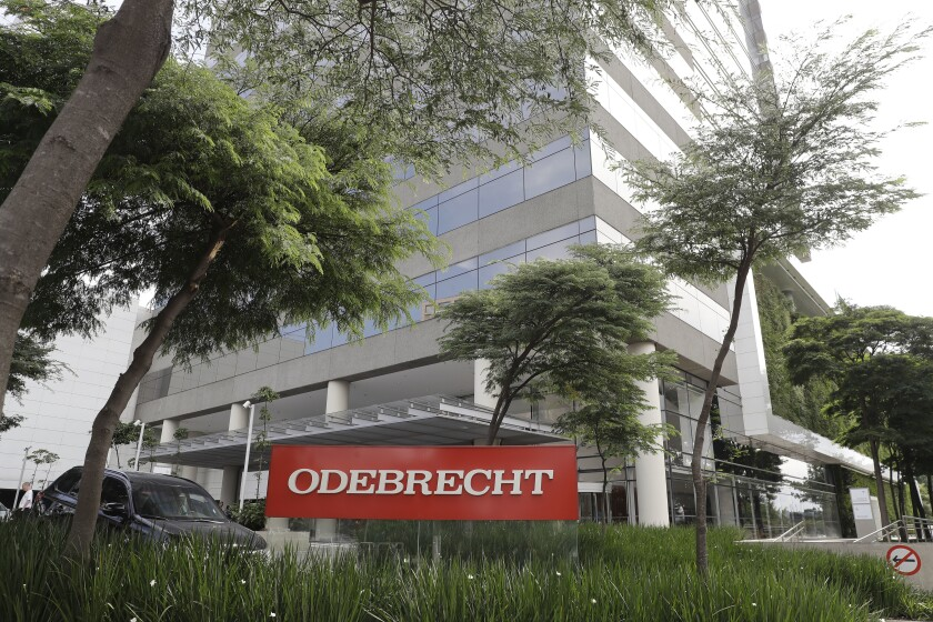 FILE - This April 12, 2018 file photo, shows the Odebrecht headquarters in Sao Paulo, Brazil. Brazil's top court is expected to make a ruling during the first week of Oct. 2019, that could lead to the annulment of dozens of cases brought by the sprawling Operation Car Wash that has snared top politicians and businesspeople across Latin America. (AP Photo/Andre Penner, File)