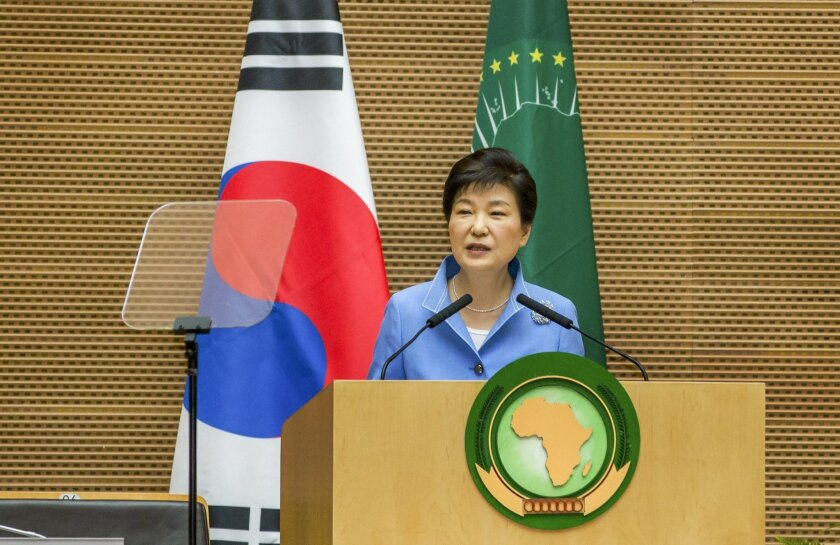 South Korea's President Park Geun-hye delivers a speech to the African Union in Addis Ababa, Ethiopia Friday, May 27, 2016. South Korea's president, who is on a three-nation visit to Africa, is urging African leaders to support international efforts seeking to denuclearize North Korea. (AP Photo/Mu