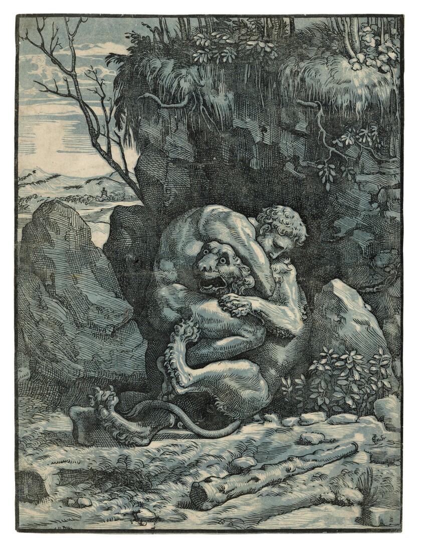 "Ugo da Carpi,""Hercules and the Nemean Lion,"" c. 1517-18, chiaroscuro woodcut from 2 blocks. The Chi"