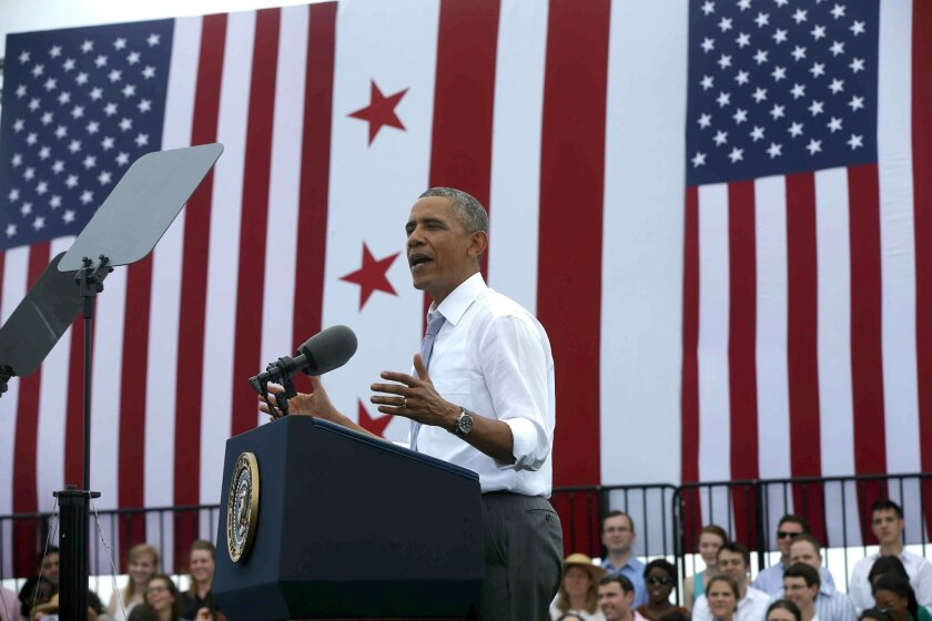 President Barack Obama speaks about transportation and the economy  at the Georgetown Waterfront Park in Washington.