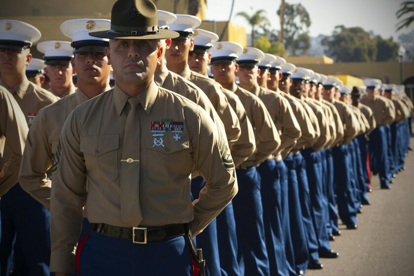 Marine recruits from 3rd Recruit Training Battalion, Company L , about to begin their graduation ceremony from boot camp, remain under their drill instructor's watchful eye at the Marine Corps Recruit Depot San Diego.
