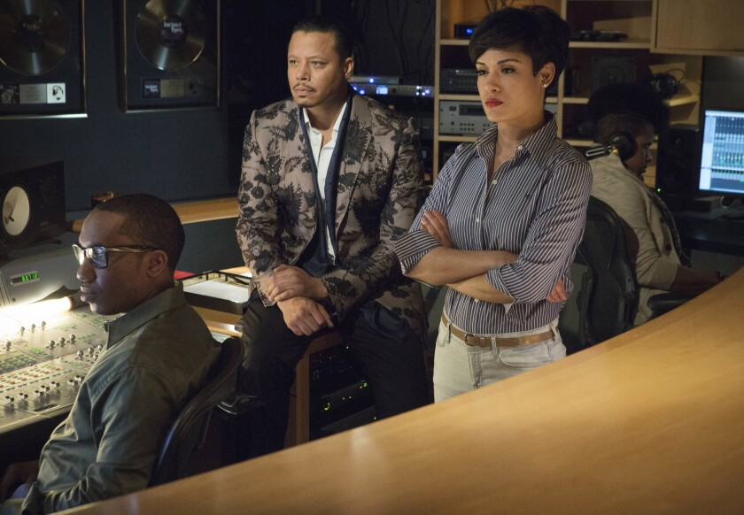 """""""Empire,"""" a sparkly, sometimes-soulful new family-epic prime-time soap premieres Wednesday on Fox. Terrence Howard, center, and Grace Gealey star in """"Empire."""""""