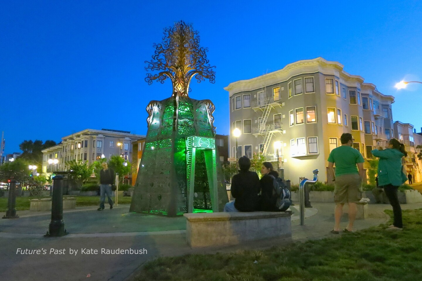 """In Hayes Valley: """"Future's Past,"""" by Kate Raudenbush. This temporary work, at Octavia and Hayes streets, was first shown at Burning Man in 2010. It stands 24 feet tall, is made of metal and has green lighting at night."""