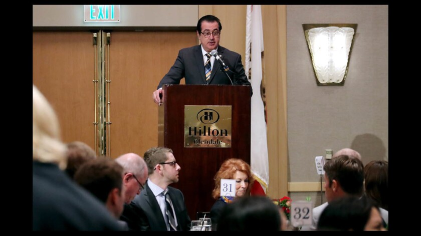 Glendale mayor Vartan Gharpetian gives the State of the City address at the annual Glendale Chamber of Commerce Awards 2018 and State of the City luncheon, at the Hilton in Glendale on Thursday, March 29, 2018.