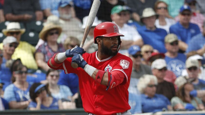 Angels' Jo Adell bats against the Kansas City Royals in a spring training game Thursday in Surprise, Ariz.