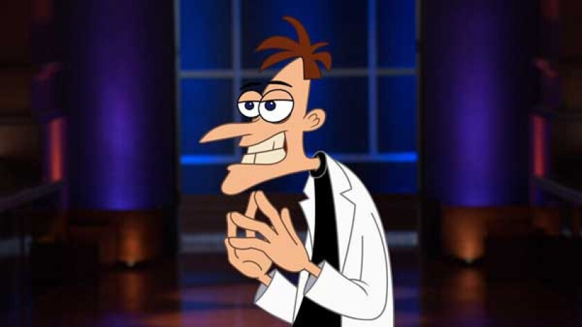 """Phineas and Ferb's"" Dr. Heinz Doofenshmirtz  delivers an animated pitch in the season finale of ""Shark Tank"" on ABC"
