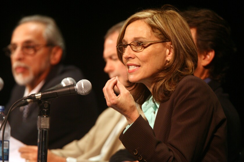 Former Huntington Beach mayor Debbie Cook, pictured in 2008, alleges that a water district board member has a conflict of interest.