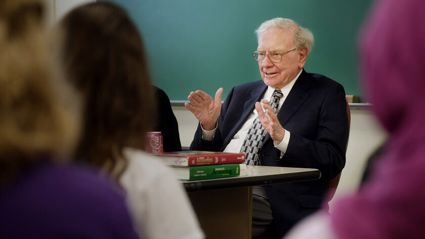 "Billionaire Warren Buffett speaks to high school students in the HBO documentary ""Becoming Warren Buffett."""
