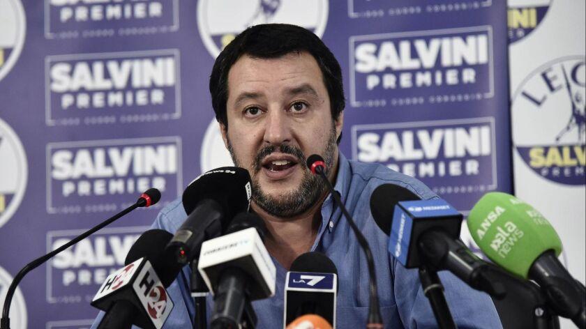 Salvini comments refusal of entry for rescue ship Aquarius, Milan, Italy - 11 Jun 2018