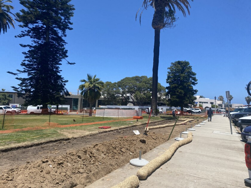Construction has begun on a temporary bocce court at the La Jolla Recreation Center.
