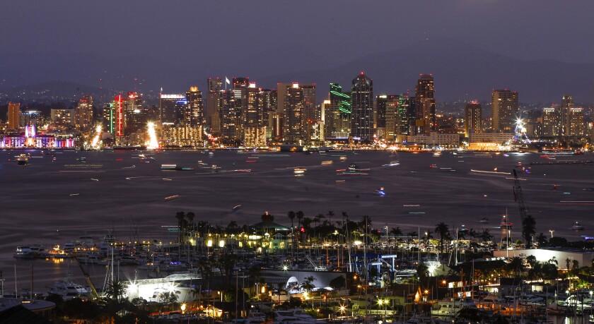 The downtown San Diego skyline and San Diego Bay.