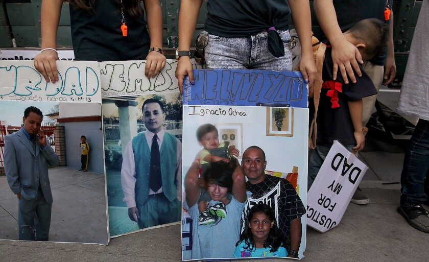 Family members use the protest to pay tribute to Ignacio Ochoa, who was killed in a Paramount police shooting.