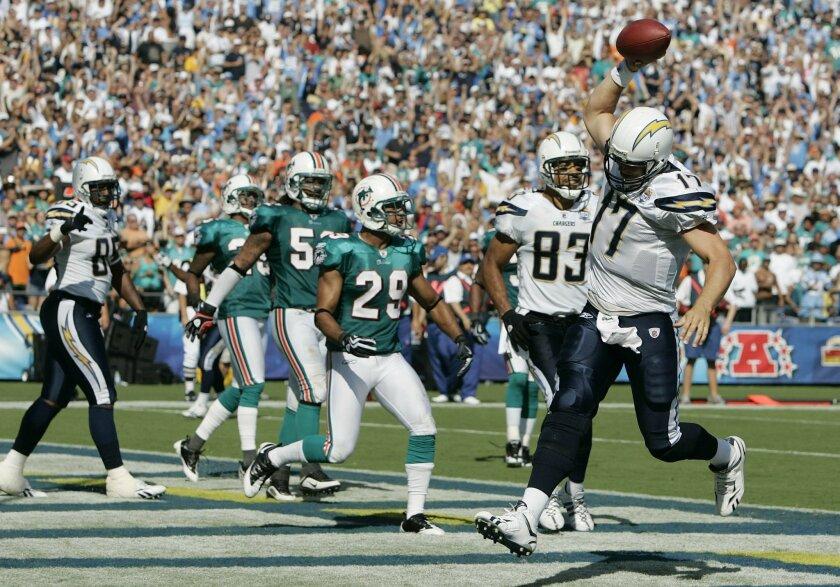 Chargers QB Philip Rivers prepares to spike the ball in the end zone after his third-quarter touchdown dash. (Sean M. Haffey / Union-Tribune)
